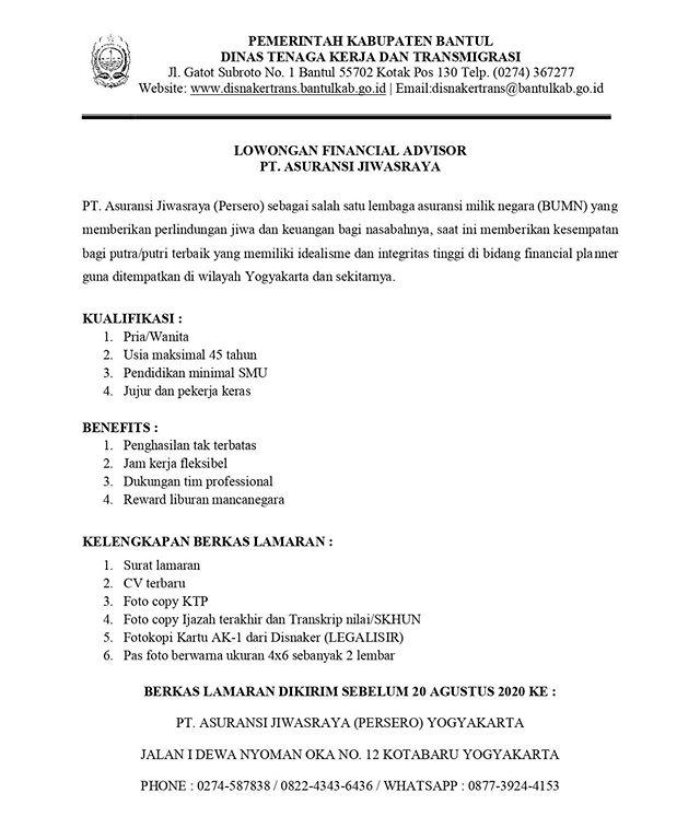Lowongan Kerja BUMN PT Asuransi Jiwasraya (Persero) Minimal SMA Tahun 2020