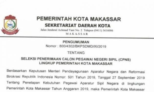 Pengumuman Lowongan CPNS Pemko Makassar 2019 [526 Formasi]