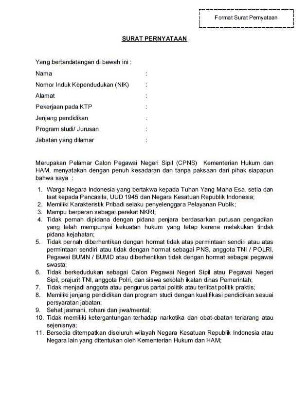 50+ Contoh surat pernyataan kemenkumham terbaru terbaru