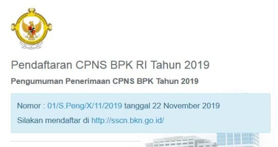 Pengumuman Penerimaan Cpns Bpk 2019 348 Formasi