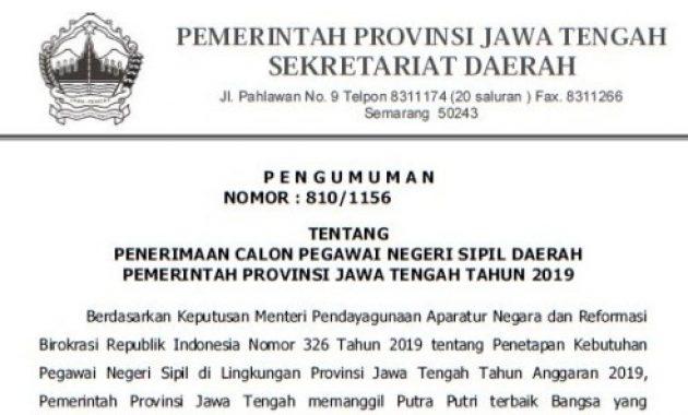 Pengumuman Penerimaan CPNS Pemprov Jawa Tengah 2019 [1.409 Formasi]