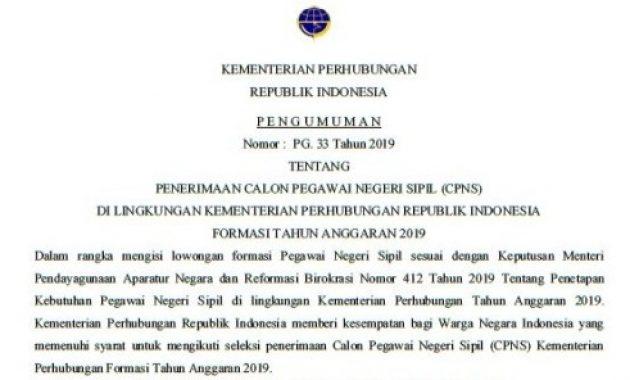 Pengumuman Penerimaan CPNS Kementerian Perhubungan 2019 [1.244 Formasi]