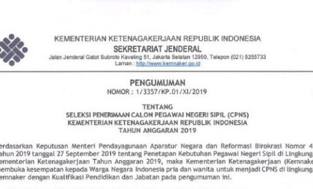 Pengumuman Rekrutmen CPNS Kementerian Ketenagakerjaan 2019