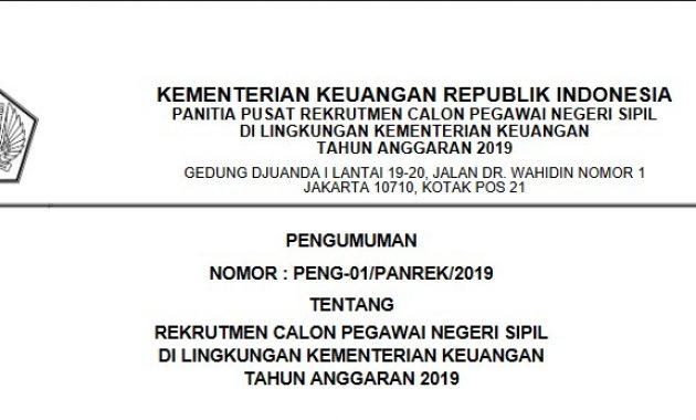 Pengumuman Rekrutmen CPNS Kementerian Keuangan 2019, Buka 202 Formasi