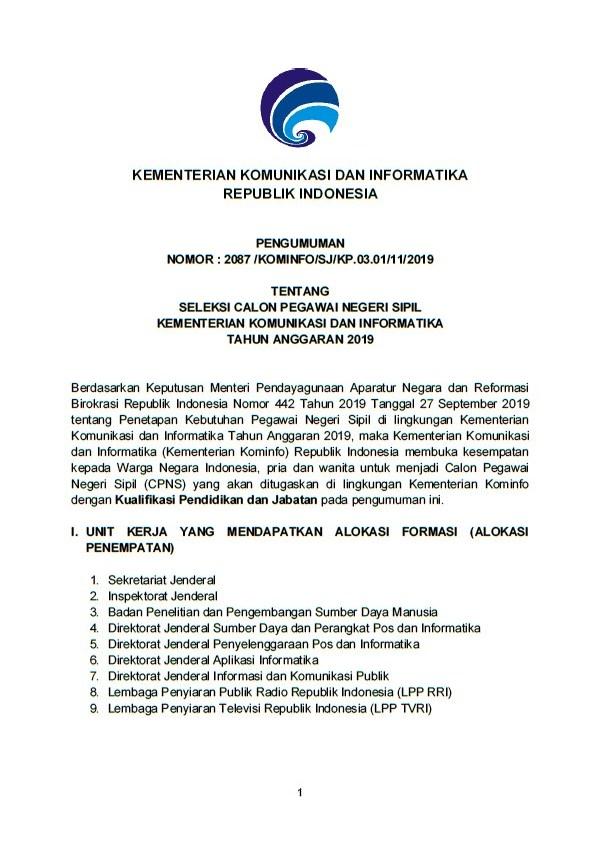 Lowongan CPNS Kementerian Komunikasi dan Informatika Tahun 2019