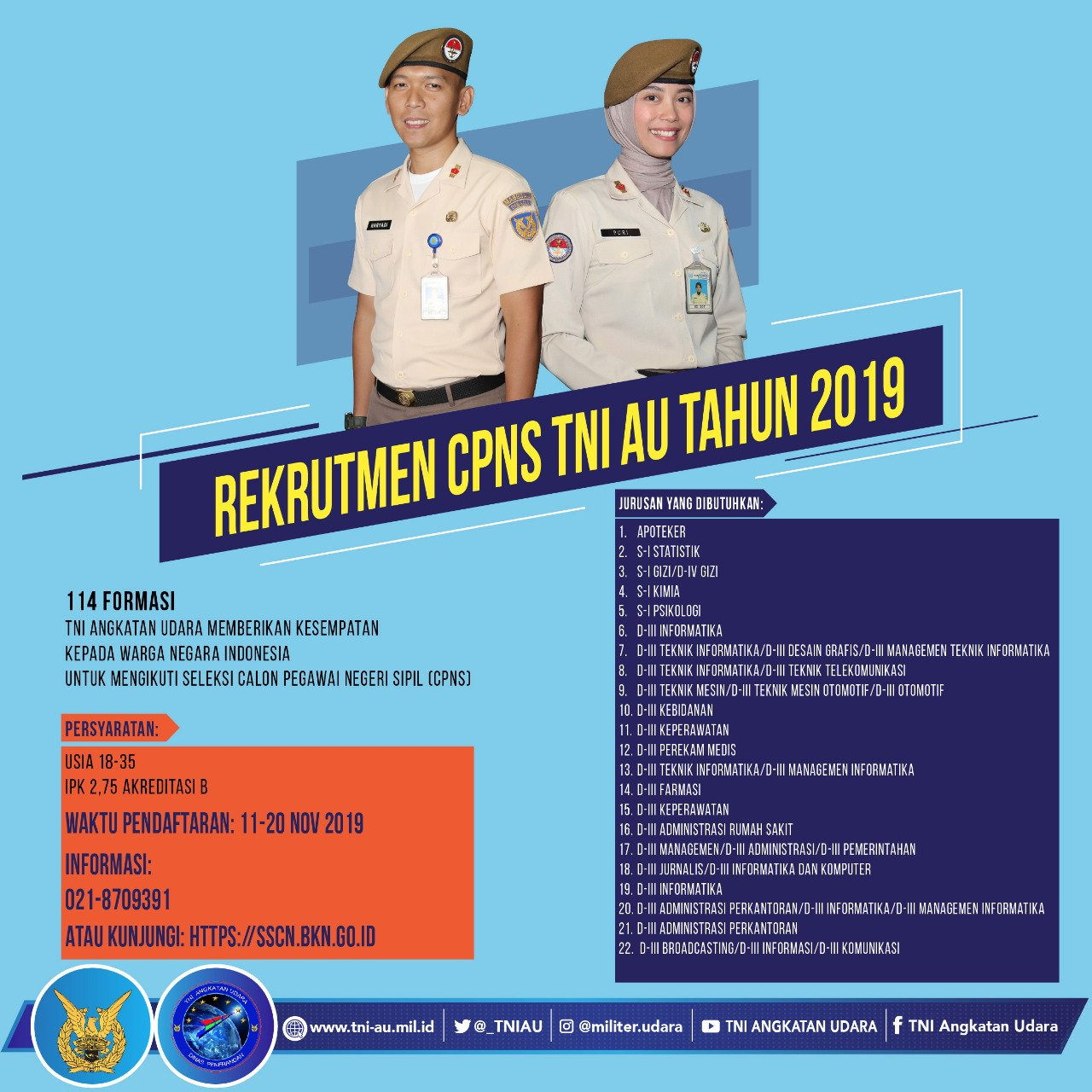 Pengumuman Rekrutmen CPNS TNI Angkatan Udara Tahun 2019