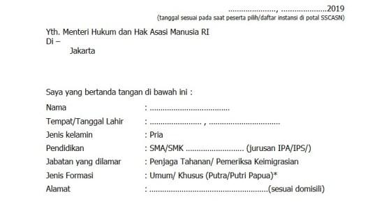 Contoh Format Surat Lamaran Cpns Kemenkumham Slta D3 S1 S2 Tahun 2019