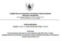 Lowongan CPNS Kementerian Koordinator Bidang Perekonomian 2019