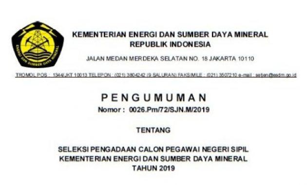 Rekrutmen CPNS Kementerian ESDM Tahun 2019 [50 Formasi]
