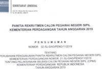 Lowongan CPNS Kementerian Perdagangan Tahun Anggaran 2019 [222 Formasi]