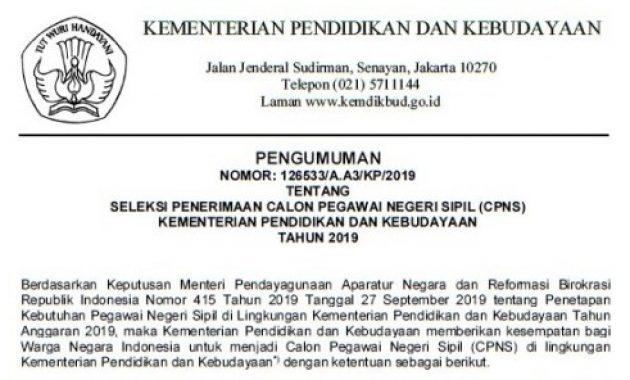 Penerimaan CPNS Kementerian Pendidikan dan Kebudayaan 2019 [202 Formasi]