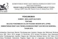 Lowongan CPNS Kementerian Riset dan Teknologi Tahun 2019