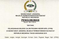 Pengumuman Lowongan CPNS Sekretariat Jenderal MPR 2019 [21 Formasi]