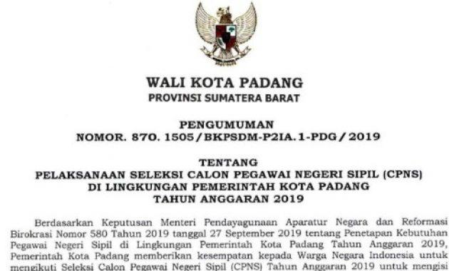 Lowongan CPNS Pemko Padang Tahun 2019