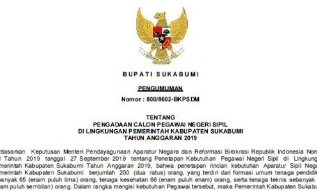 Penerimaan CPNS Kabupaten Sukabumi Tahun 2019, Buka 200 Formasi