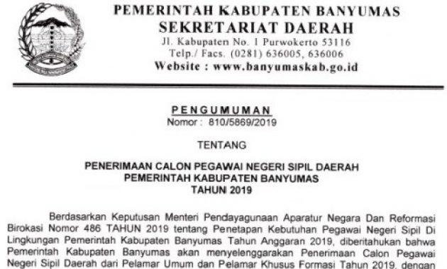 Lowongan dan Formasi CPNS Kabupaten Banyumas 2019