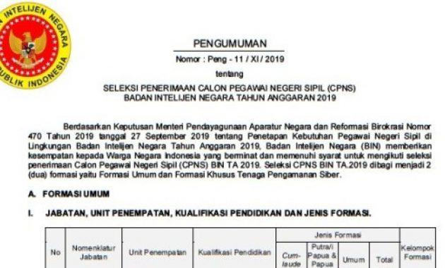 Pengumuman Penerimaan CPNS Badan Intelijen Negara 2019 [721 Formasi]