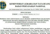 Pengumuman Hasil Seleksi Administrasi PPNPN Kementerian ATR/BPN 2019