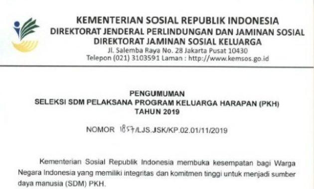 Pengumuman Rekrutmen Pendamping Sosial PKH Kemensos 2019