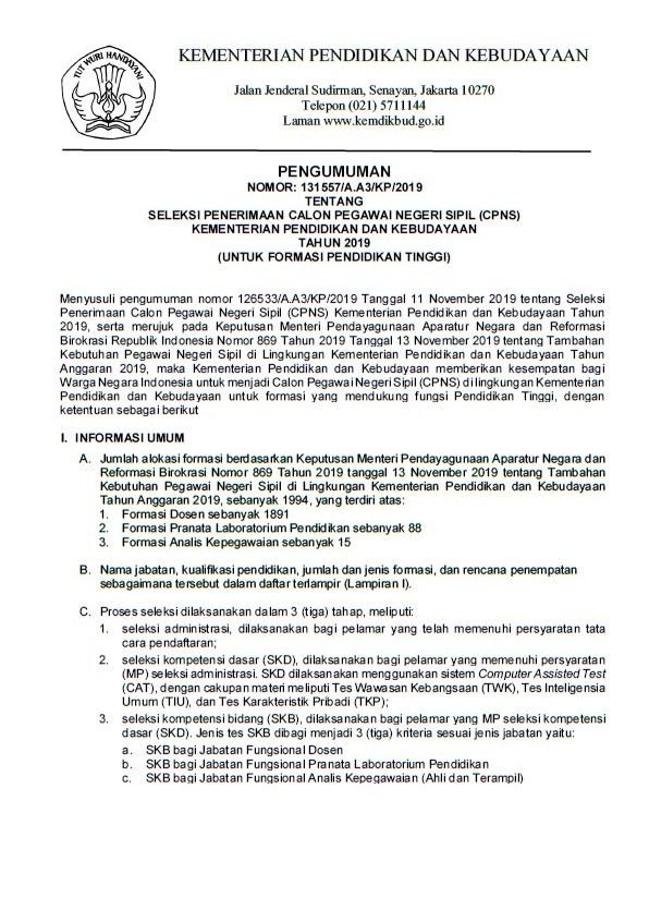Pengumuman Penerimaan CPNS Kemdikbud 2019 (Formasi Dikti) Pendaftaran Sampai 9 Desember