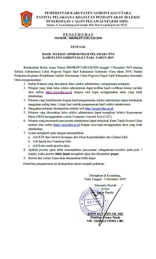 Pengumuman Hasil Seleksi Administrasi CPNS Kab Gorontalo Utara 2019