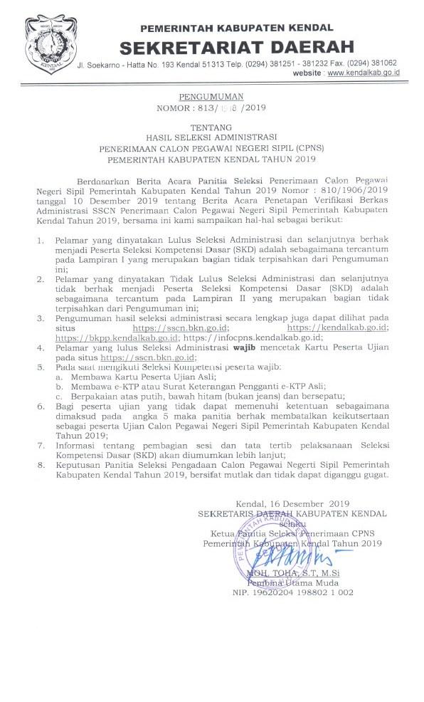 Pengumuman Hasil Seleksi Administrasi CPNS Kabupaten Kendal 2019