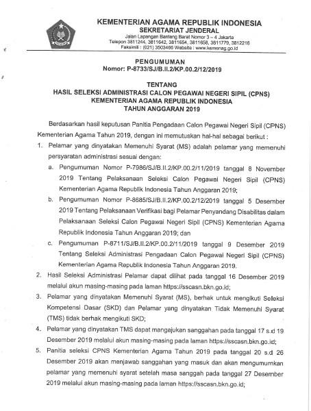 Pengumuman Hasil Seleksi Administrasi CPNS Kementerian Agama 2019