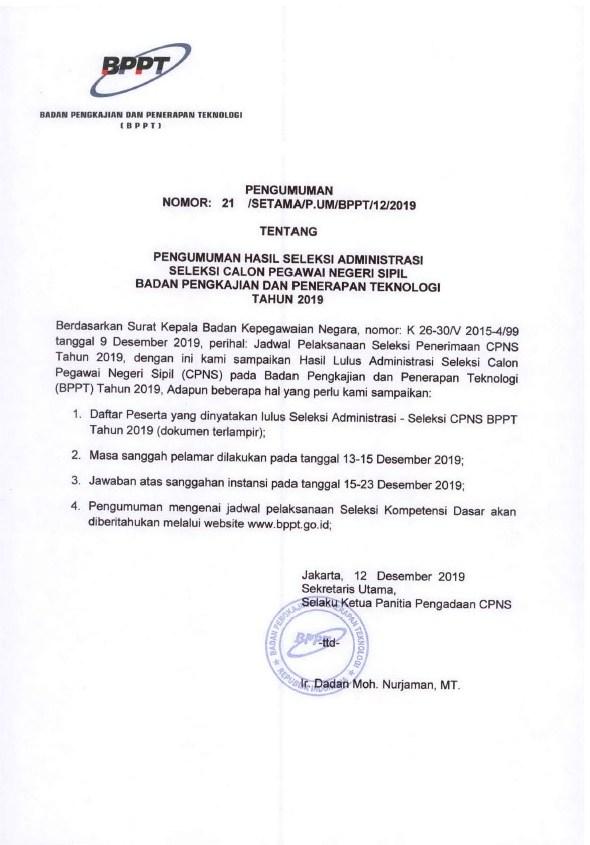 Pengumuman Hasil Seleksi Administrasi Seleksi CPNS BPPT Tahun Anggaran 2019