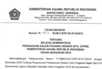 hasil seleksi administrasi cpns kemenag 2019