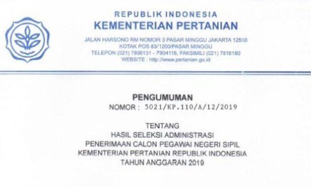 pengumuman hasil seleksi administrasi cpns kementan tahun 2019