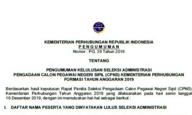 hasil seleksi administrasi cpns kemehub 2019