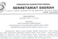 hasil seleksi administrasi cpns kendal 2019
