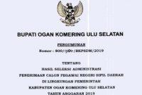 Hasil Seleksi Administrasi CPNS Kab Ogan Komering Ulu Selatan 2019