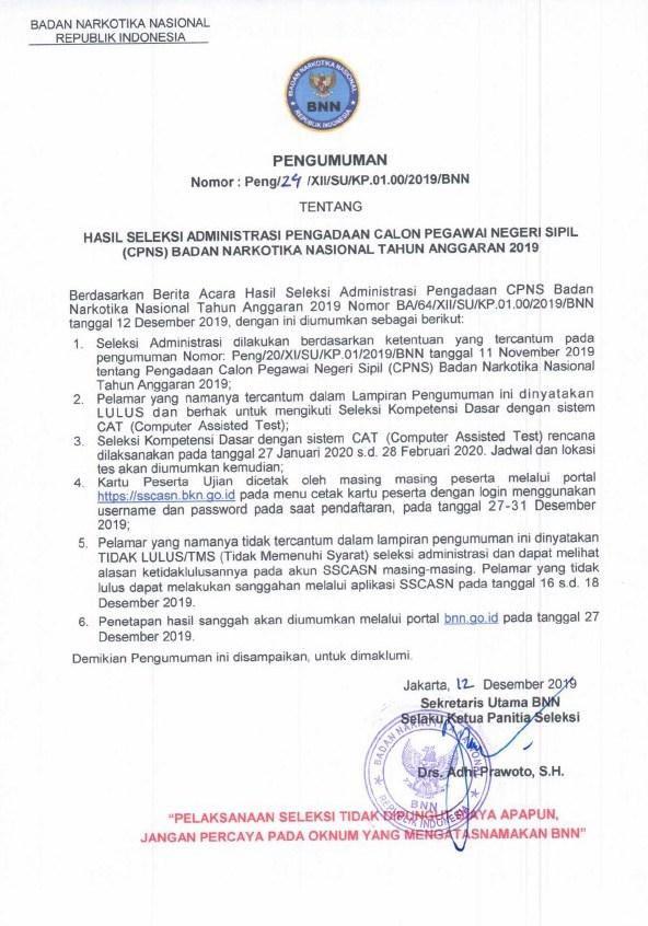 Pengumuman Hasil Seleksi Administrasi CPNS BNN Tahun 2019