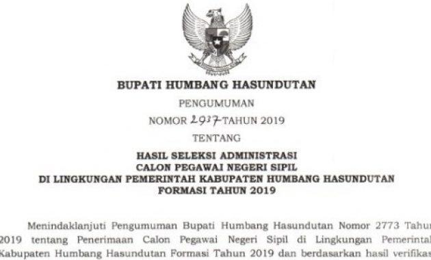 pengumuman hasil seleksi administrasi cpns humbang hasundutan 2019