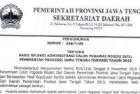 Pengumuman Hasil Seleksi Administrasi CPNS Pemprov Jawa Tengah 2019