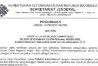Pengumuman Hasil Seleksi Administrasi CPNS Kementerian Ketenagakerjaan 2019