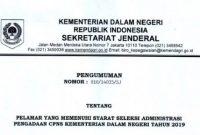 pengumuman hasil seleksi administrasi cpns kemendagri 2019