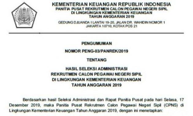 pengumuman hasil seleksi administrasi cpns kemenkeu 2019