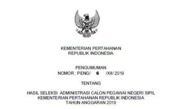 pengumuman hasil seleksi administrasi cpns kemhan 2019