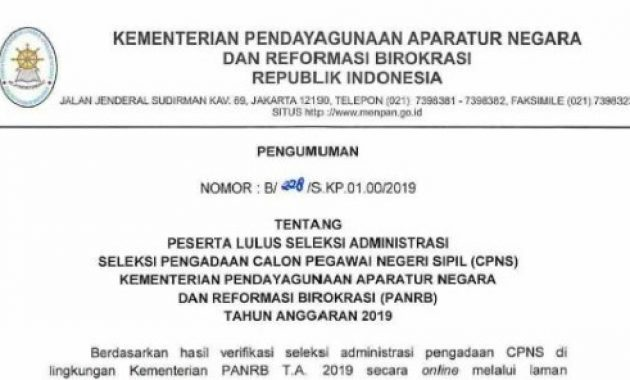 pengumuman hasil seleksi administrasi cpns panrb 2019