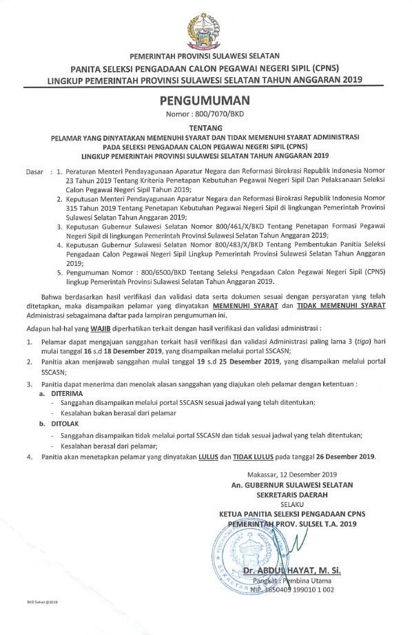 Pengumuman Hasil Seleksi Administrasi CPNS Pemprov Sulawesi Selatan 2019