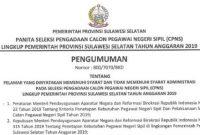 pengumuman nama-nama lulus seleksi administrasi cpns sulsel 2019