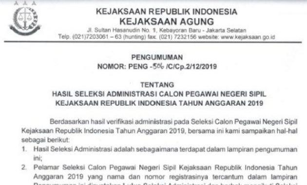pengumuman pelamar lulus seleksi administrasi cpns kejaksaan 2019