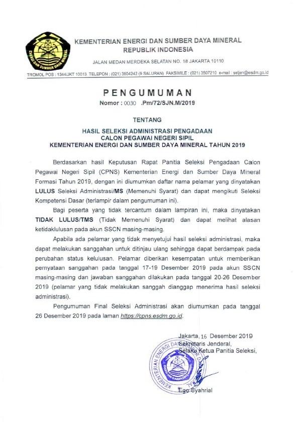 Pengumuman Lulus Seleksi Administrasi CPNS Kementerian ESDM Tahun Anggaran 2019