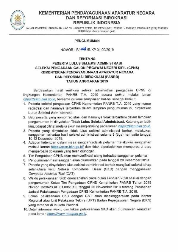 Resmi ! Pengumuman Hasil Seleksi Administrasi CPNS Kemenpan RB 2019