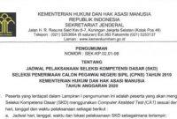 Jadwal dan Lokasi Seleksi Kompetensi Dasar (SKD) CPNS Kemenkumham T.A 2020