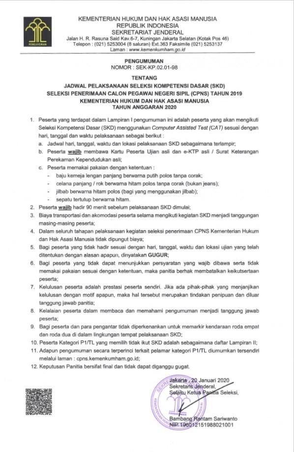 jadwal skd cpns kemenkumham 2019 2020