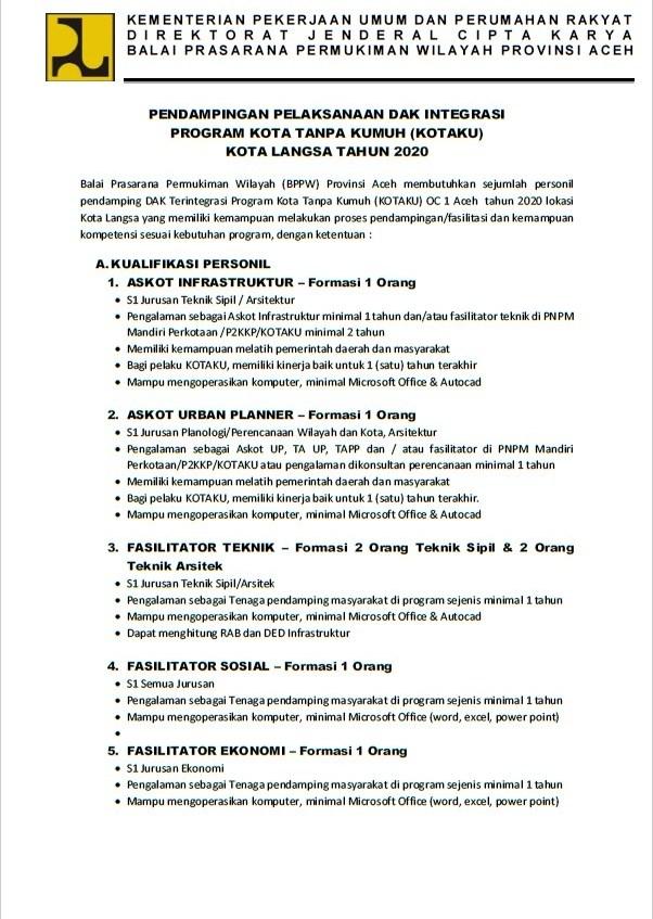 Lowongan Kerja Fasilitator Program Kotaku Kementerian Pupr Tahun 2020