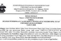 Lowongan Dosen Non PNS Tetap Universitas Hasanuddin Tahun 2020